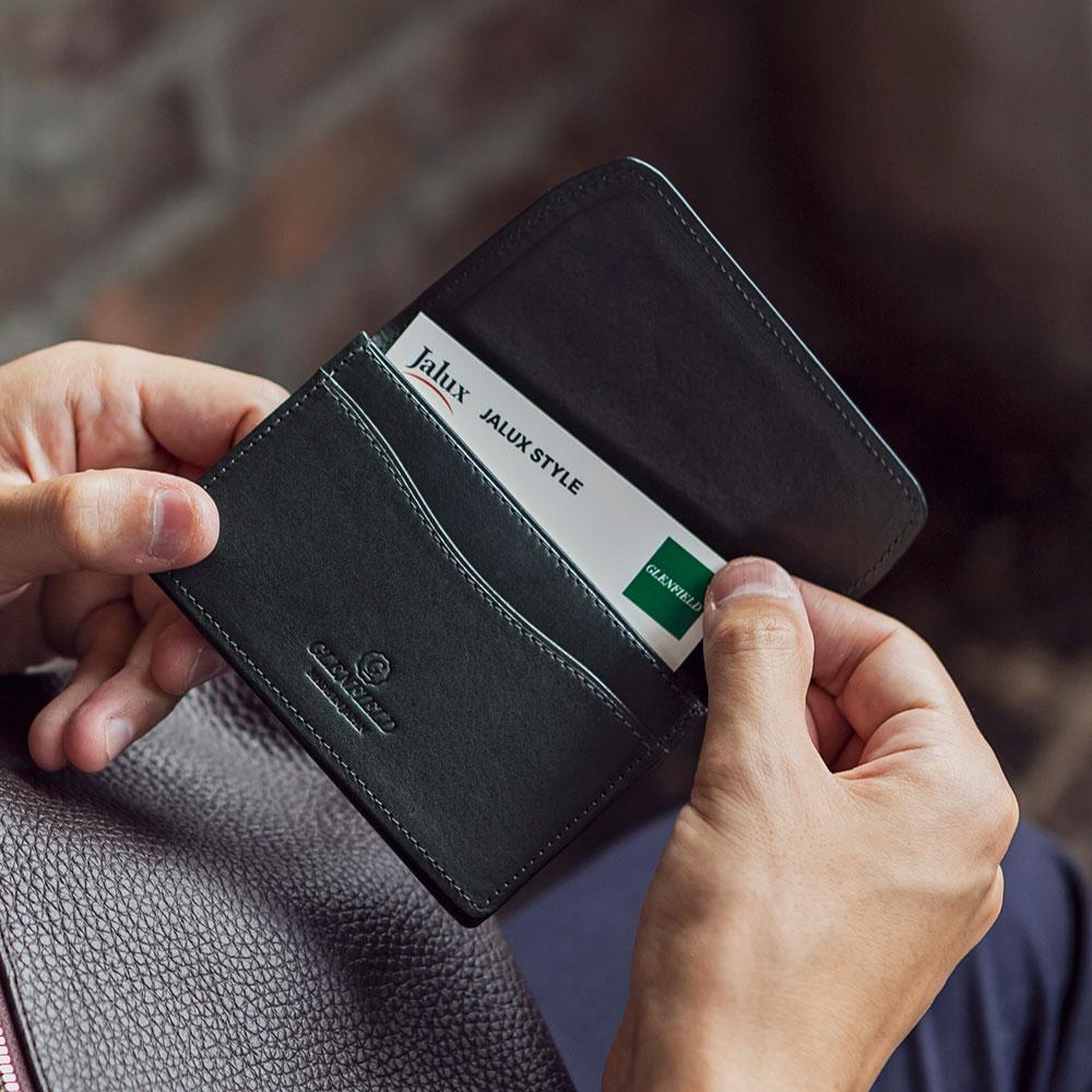 日本製 名刺入れ カードケース 英国製レザー ブライドルレザー THOMAS社[GLENFIELD/グレンフィールド][あす着対応]