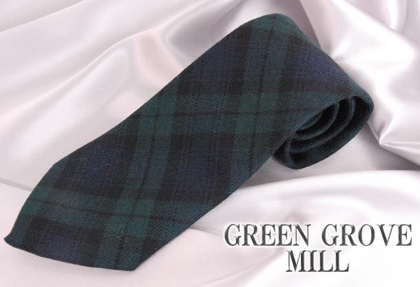 英国製 チェックネクタイ Black Watch(ブラックウォッチ) GREEN GROVE WEAVERS[あす着対応] グレンフィールド