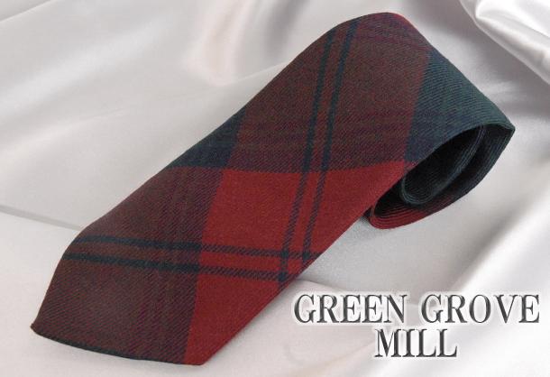 英国製 チェックネクタイ Lindsay(リンゼイ) GREEN GROVE WEAVERS[あす着対応] グレンフィールド