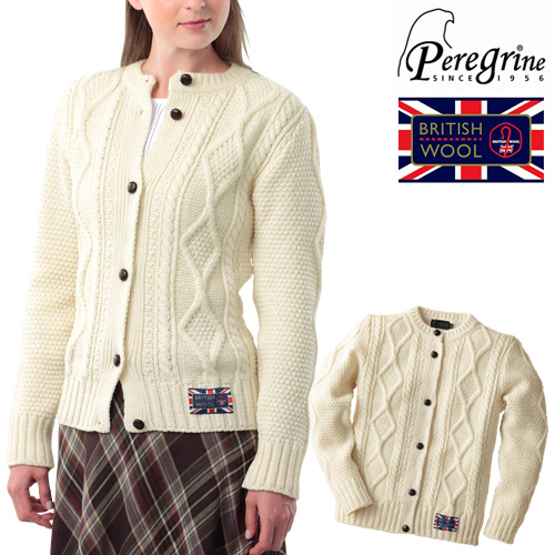 ペレグリン 英国製ケーブル編みカーディガン(peregrine)[あす着対応] グレンフィールド