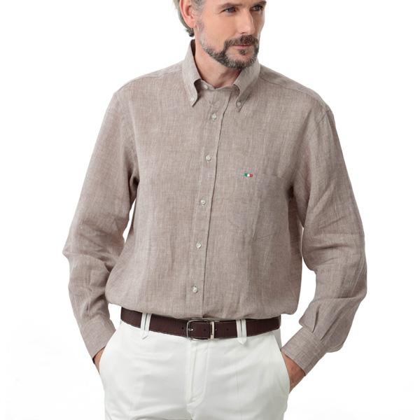 イタリア製リネンボタンダウンシャツ[あす着対応] グレンフィールド[18ap05]