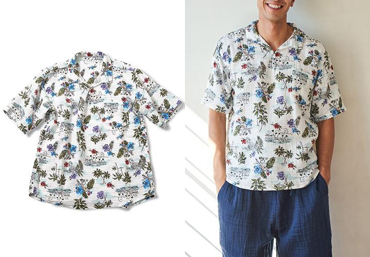 [ウチノxJALショッピング] クレープガーゼ メンズシャツ リゾート 夏 サマー 旅行