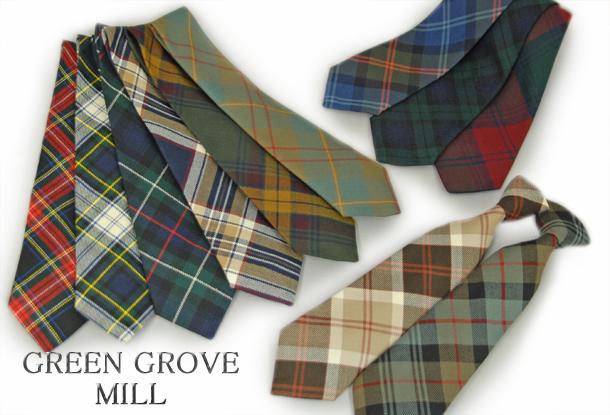 英国製 チェックネクタイ Mackenzie(マッケンジー) GREEN GROVE WEAVERS[あす着対応] グレンフィールド
