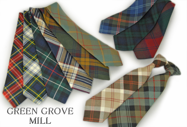 英国製 チェックネクタイ Royal Stewart(ロイヤルスチュワート) GREEN GROVE WEAVERS[あす着対応] グレンフィールド