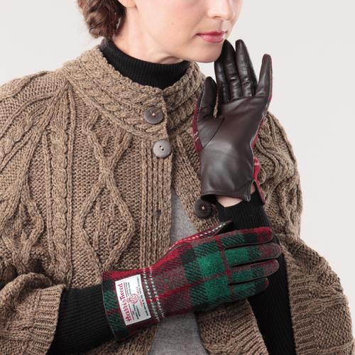 [ハリスツイード]HARRIS TWEED 手袋 レディースグローブ/シープスキン 羊革 本革グレンフィールド【ネコポス便出荷】