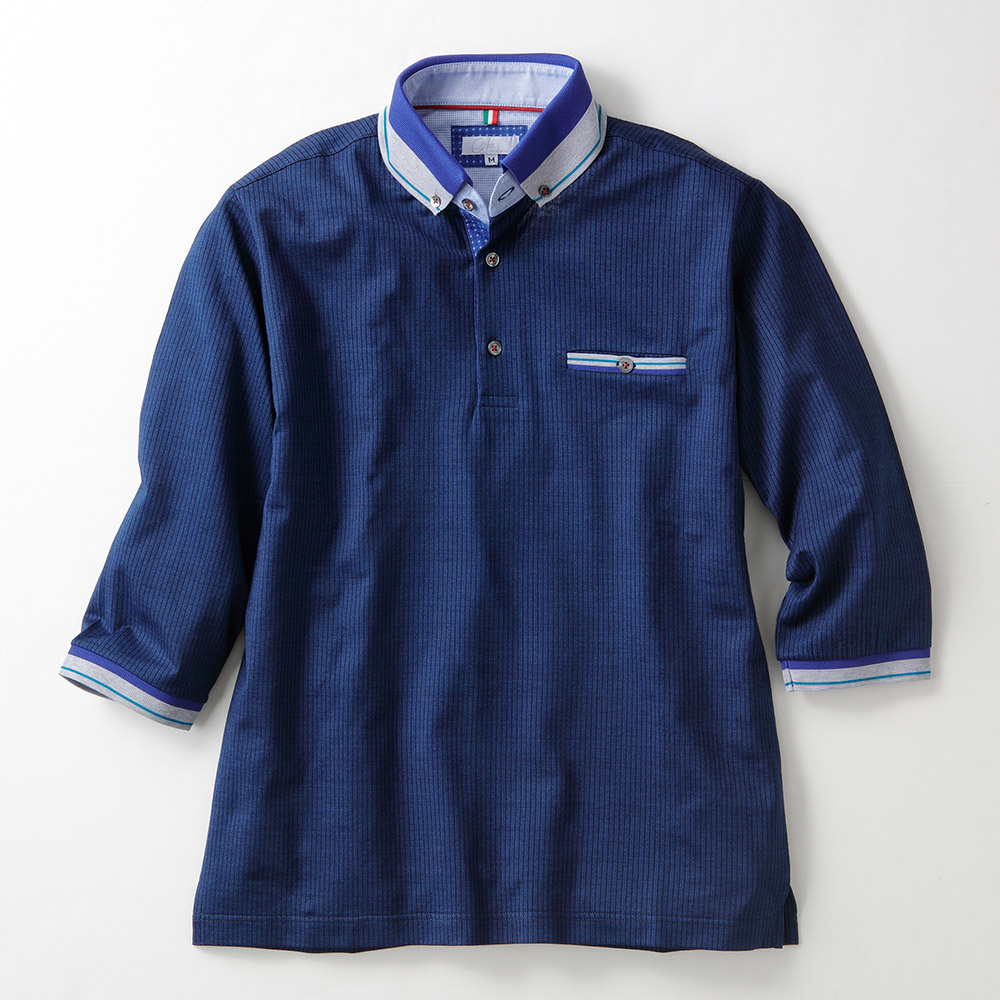 イタリア製 ストライプ 7分丈 ポロシャツ インディゴ染め ボタンダウン [CITA / チータ][あす着対応]