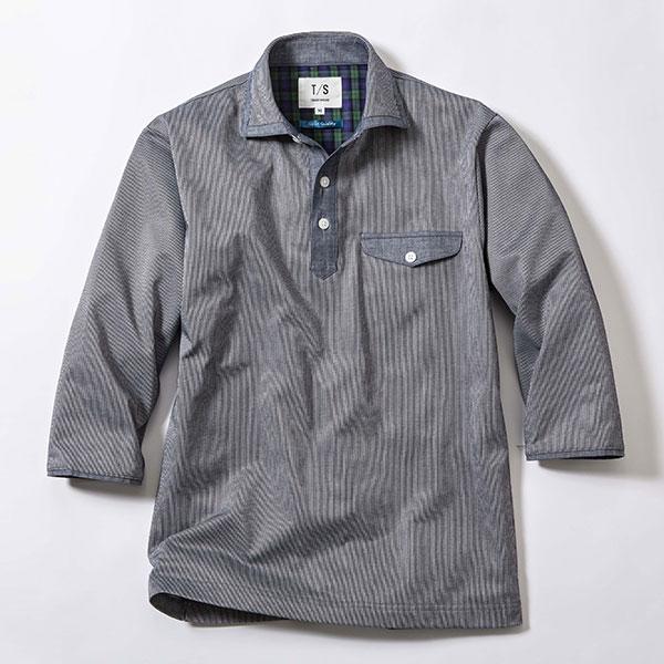日本製 セオアルファピケ ストライプ柄 7分袖 ポロシャツ メンズ[あす着対応] 20atu3