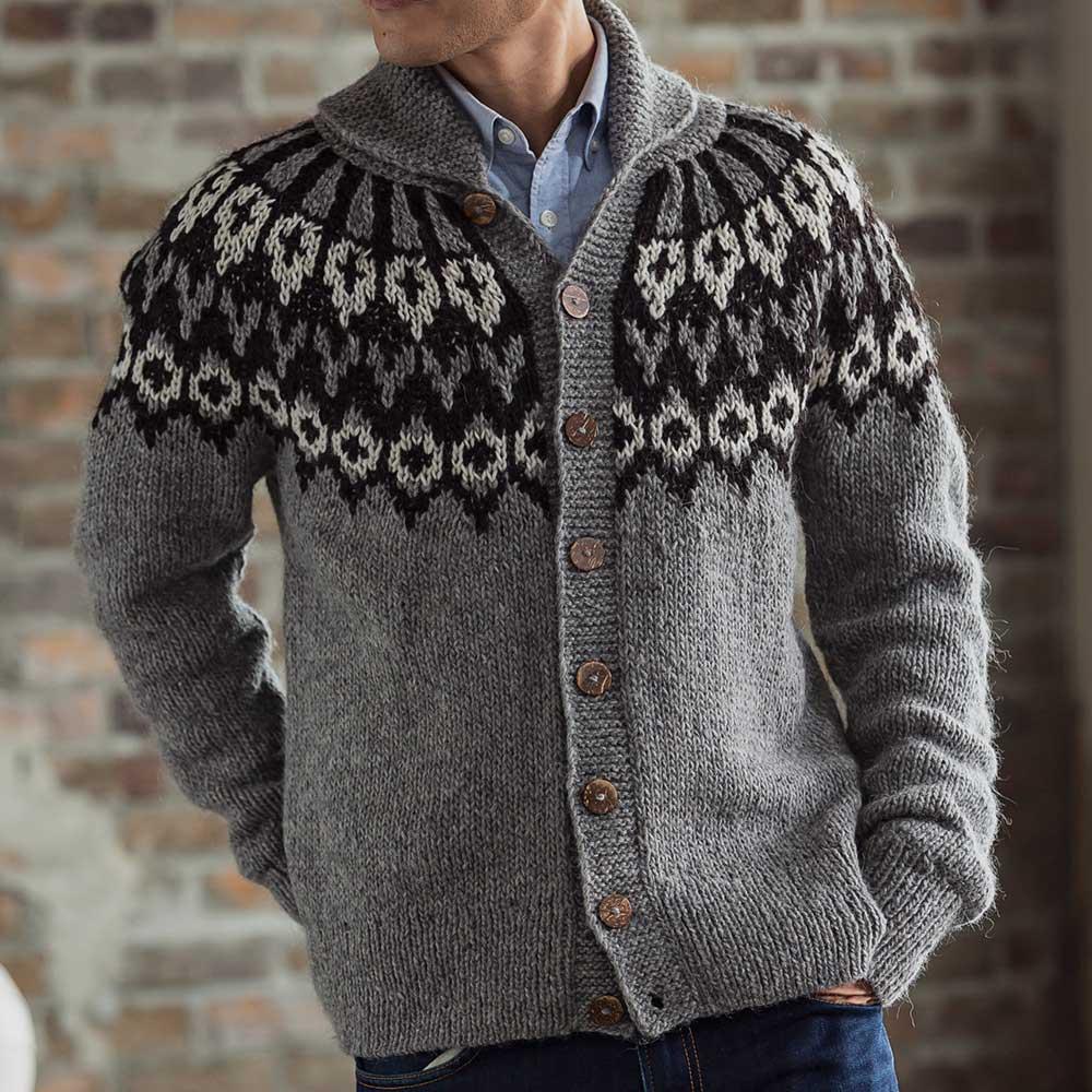 ペルー製 アルパカ ノルディック カーディガン ハンドメイド セーター 求心編み [warawara/ワラワラ][あす着対応]