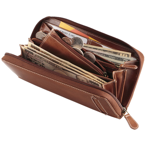 アニリンワックスレザージッパーロングウォレット/財布/長財布/カード15枚以上/aging[あす着対応] グレンフィールド