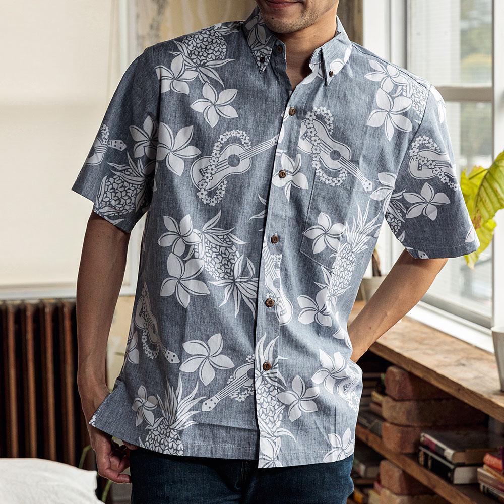 アメリカ製 ウクレレ柄 アロハシャツ 半袖 シャツ アロハ [TWO PALMS / トゥーパームス][あす着対応]【母の日特集】