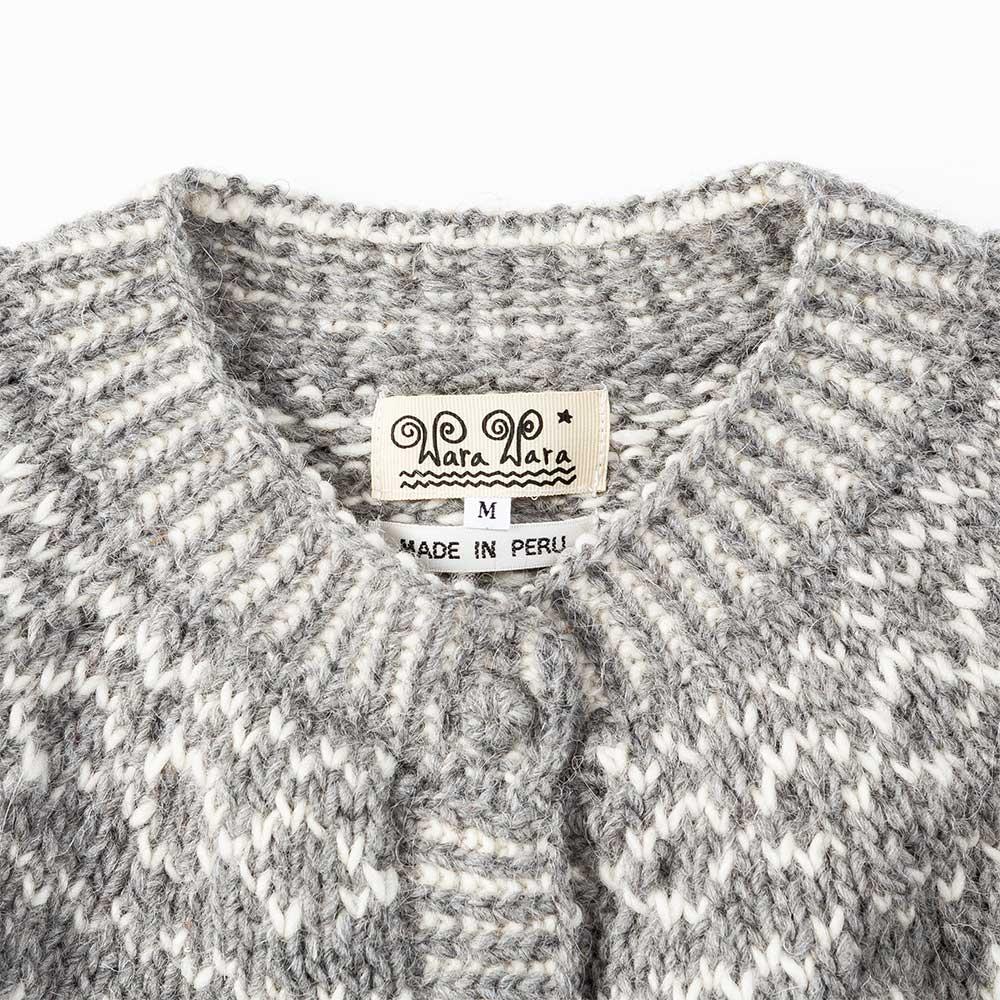 ペルー製 カーディガン キッズ柄 アルパカ 手編み レディース [warawara/ワラワラ][あす着対応]