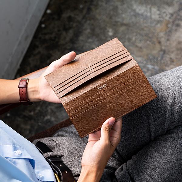 [メゾンド ヒロアン/MAISON de HIROAN] 日本製  純札 スリム 長財布 長札財布 小銭入れなし アルピナレザー 本革  [あす着対応]