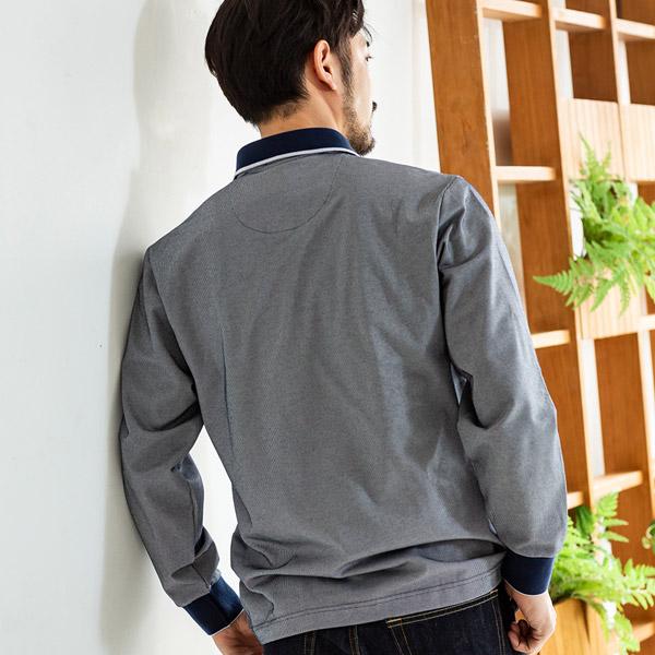 日本製 セオアルファ ピケストライプ柄 長袖ポロシャツ [BRITISH GREEN/ブリティッシュグリーン][あす着対応] セール対象 20atu3