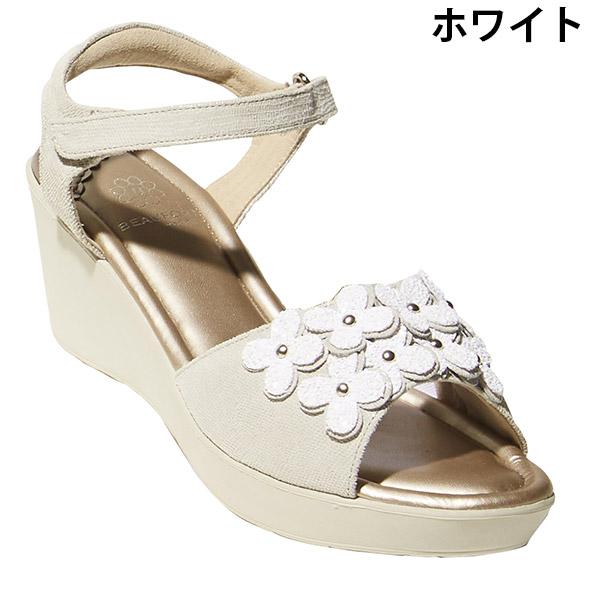 [BeauFort/ビューフォート] 軽量 フラワーモチーフ オープントゥ サンダル [レディース リゾート トラベル 靴 シューズ コンフォート][あす着対応]
