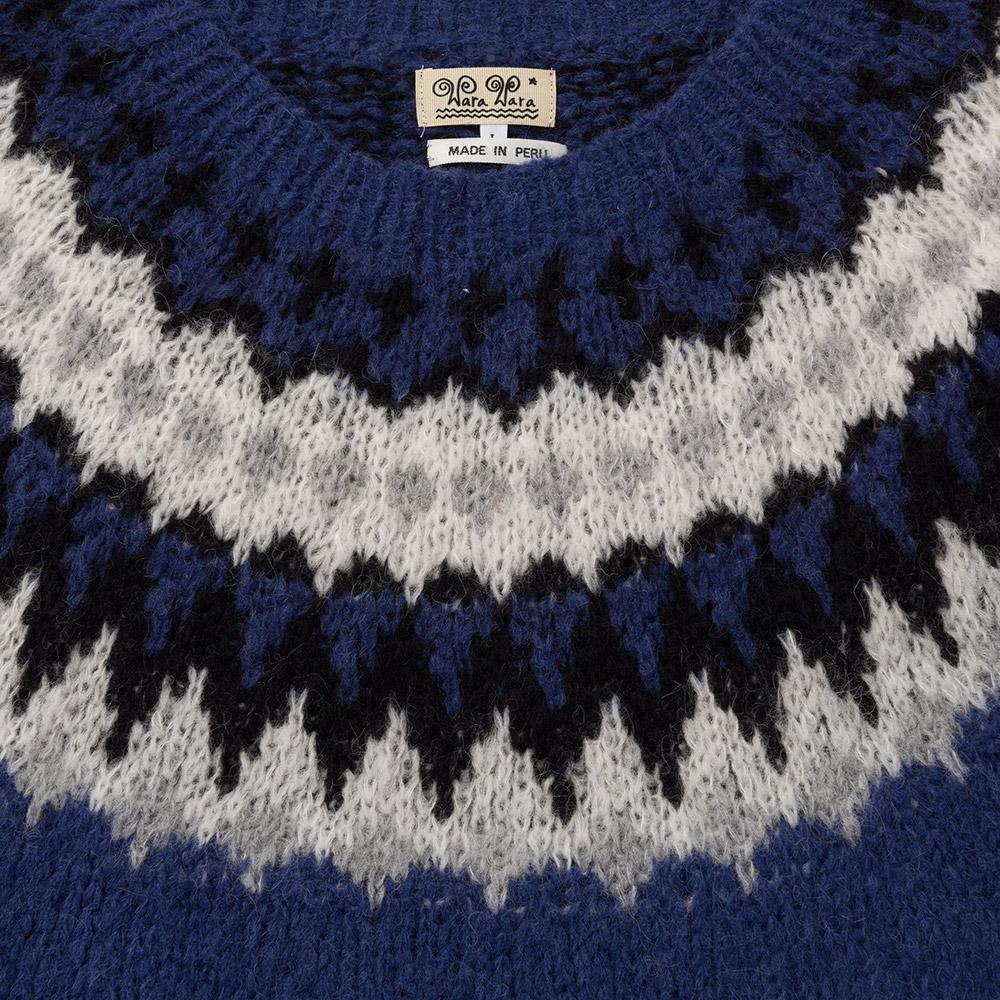 ペルー製 アルパカ混 ノルディック セーター ニット 求心編み クルーネック メンズ 男性 秋冬 [あす着対応]