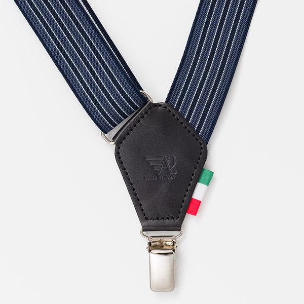 イタリア製バンカーズサスペンダー[ALEN2 アレンツー] [エックス字型 ビジネス カジュアル ストライプ 2点留めサスペンダー サイドホールドシステム CIA メンズ 父の日 義父 敬老の日 実父 伊製][あす着対応]