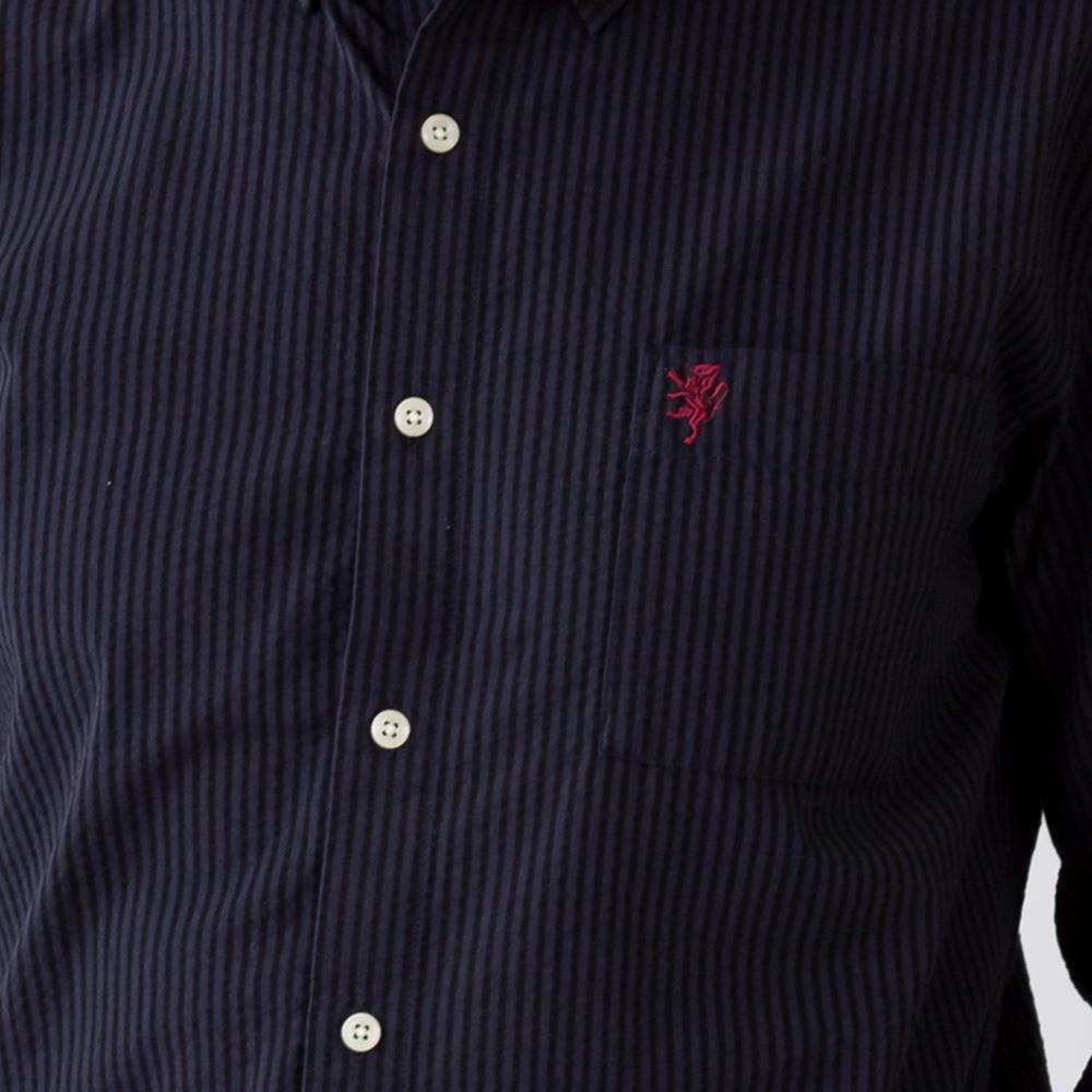 コットンリネン シアサッカー クールマックス 七分袖 シャツ ボタンダウンシャツ メンズ 男性[Herringbone Club/ヘリンボーンクラブ]   [あす着対応] 20atu3