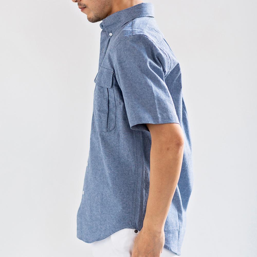シャンブレー スマホ対応 ポケット付 半袖 シャツ ボタンダウンシャツ 男性 メンズ[Herringbone Club/ヘリンボーンクラブ][あす着対応] 20atu3