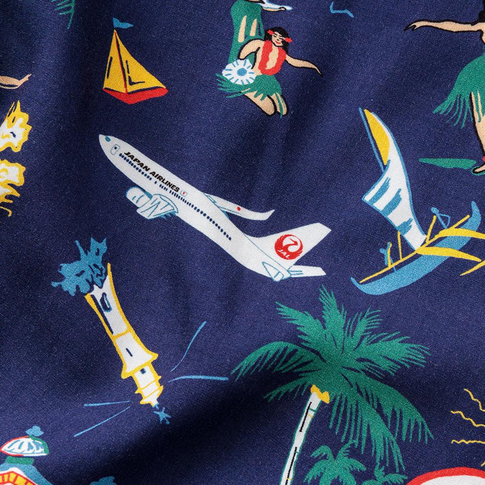 アメリカ製 飛行機柄 アロハシャツ JALロゴ 半袖 シャツ アロハ[TWO PALMS / トゥーパームス] [送料無料][あす着対応]