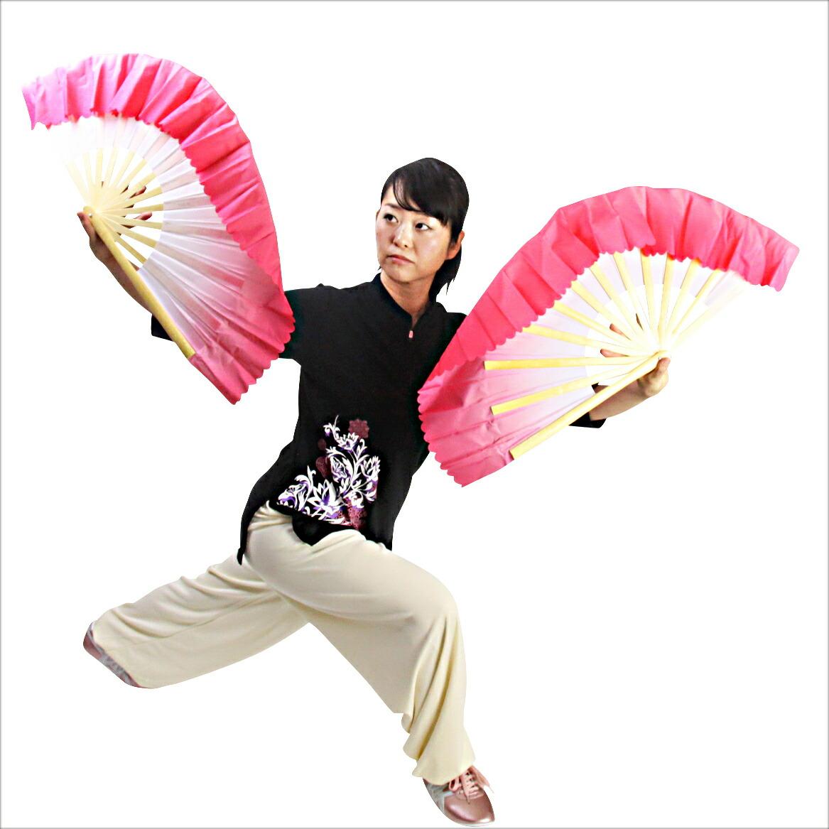 【SALE】フレア双扇子竹製 同色2本組 太極扇 カンフー扇子