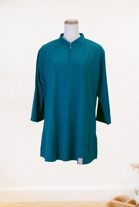 【SALE】『陶翠』(とうすい)オーシャングリーンファスナー式チャイナカラー七分袖