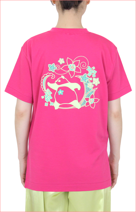太極拳Tシャツ『 COOLはなパンダ』ハニカムメッシュ/スリット入りホットピンク