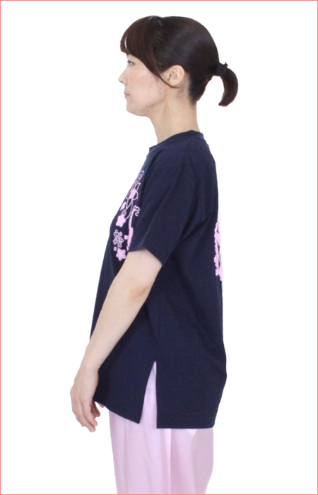 【SALE】【COOLはなパンダ】太極拳 Tシャツ ハニカムメッシュ スリット入り ネイビー 日本製