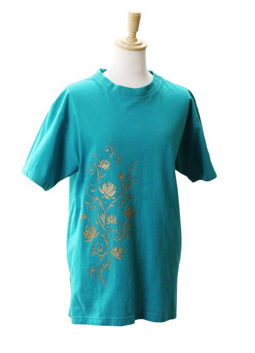 【SALE】【蓮唐草 ロータス 】 太極拳 Tシャツ スリット入り ピーコックグリーン