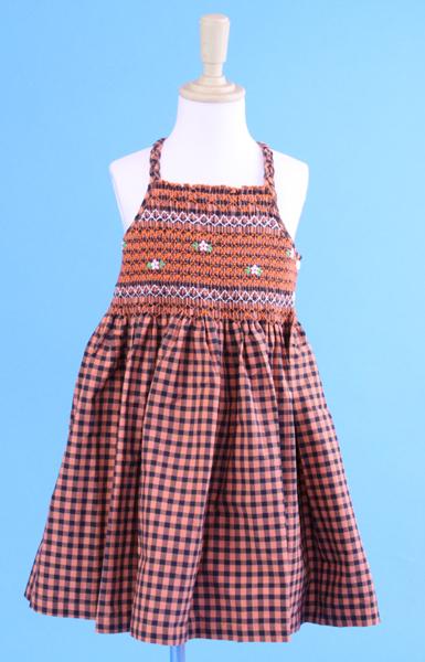 【SALE】 在庫処分 激安 輸入子供服 ギンガムチェックキャミワンピース オレンジ