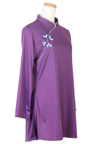 【SALE】表演服『エアリー短袍』斜開式チャイナカラー/長袖/パープル