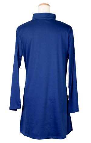 【SALE】表演服『エアリー短袍』ファスナー式チャイナカラー/長袖/ネイビー