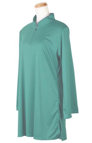【SALE】表演服『エアリー短袍』ファスナー式チャイナカラー/長袖/アッシュグリーン