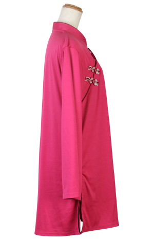 【SALE】表演服『エアリー短袍』斜開式チャイナカラー/長袖/マゼンタ
