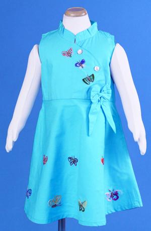 【SALE】 在庫処分 激安 輸入子供服 ベトナム子供服 ししゅう☆アオザイ風Aラインワンピース☆