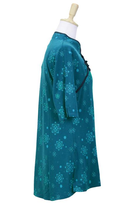 【SALE】【雪の華】 斜開式チャイナカラー 五分袖