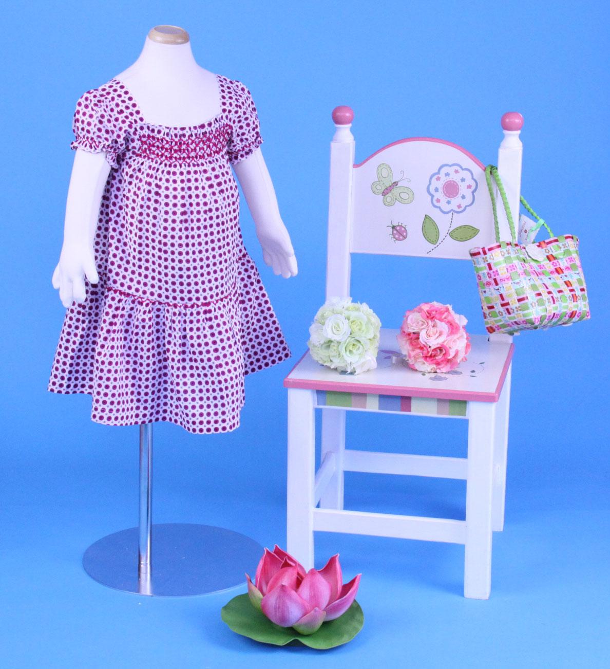 【SALE】 在庫処分 激安 輸入子供服 ベトナムししゅう☆花柄パフスリーブスモックワンピース☆