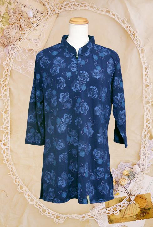 【SALE】『ローズ』ブラック/ファスナー式チャイナカラー/長袖