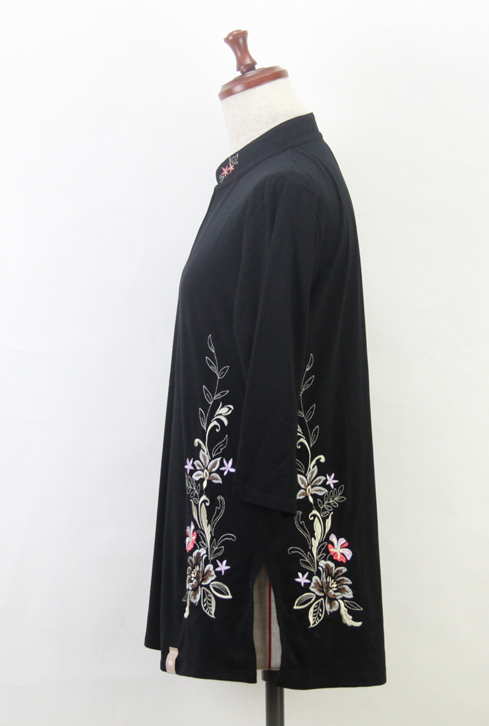 【SALE】新商品『凛華』ブラック/ファスナー式チャイナカラー/七分袖