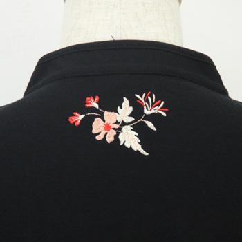 【新商品】【茜】長袖ブラック 斜開式チャイナカラー