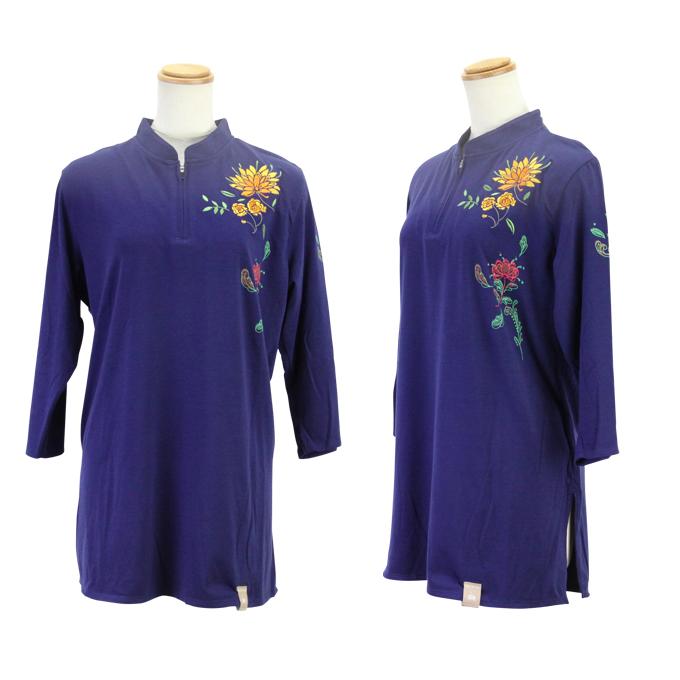 【SALE】新商品【紫紅 しこう】 ネイビー ファスナー式チャイナカラー 七分袖