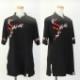 【SALE】新商品【茜あかね】 ブラック 斜開式チャイナカラー 五分袖