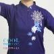 【華鏡(カキョウ)/刺繍ブルー】 四分袖 刺繍チャイナカラー ファスナー式