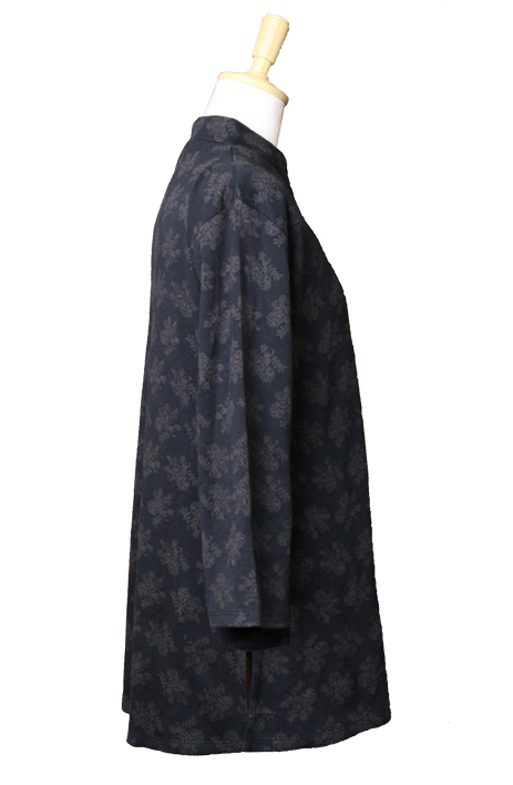 【クレマチス】長袖ブラック ファスナー式チャイナカラー