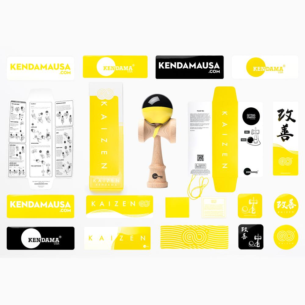 KENDAMA USA - Kaizen SHIFT - Half Split - Yellow and Black