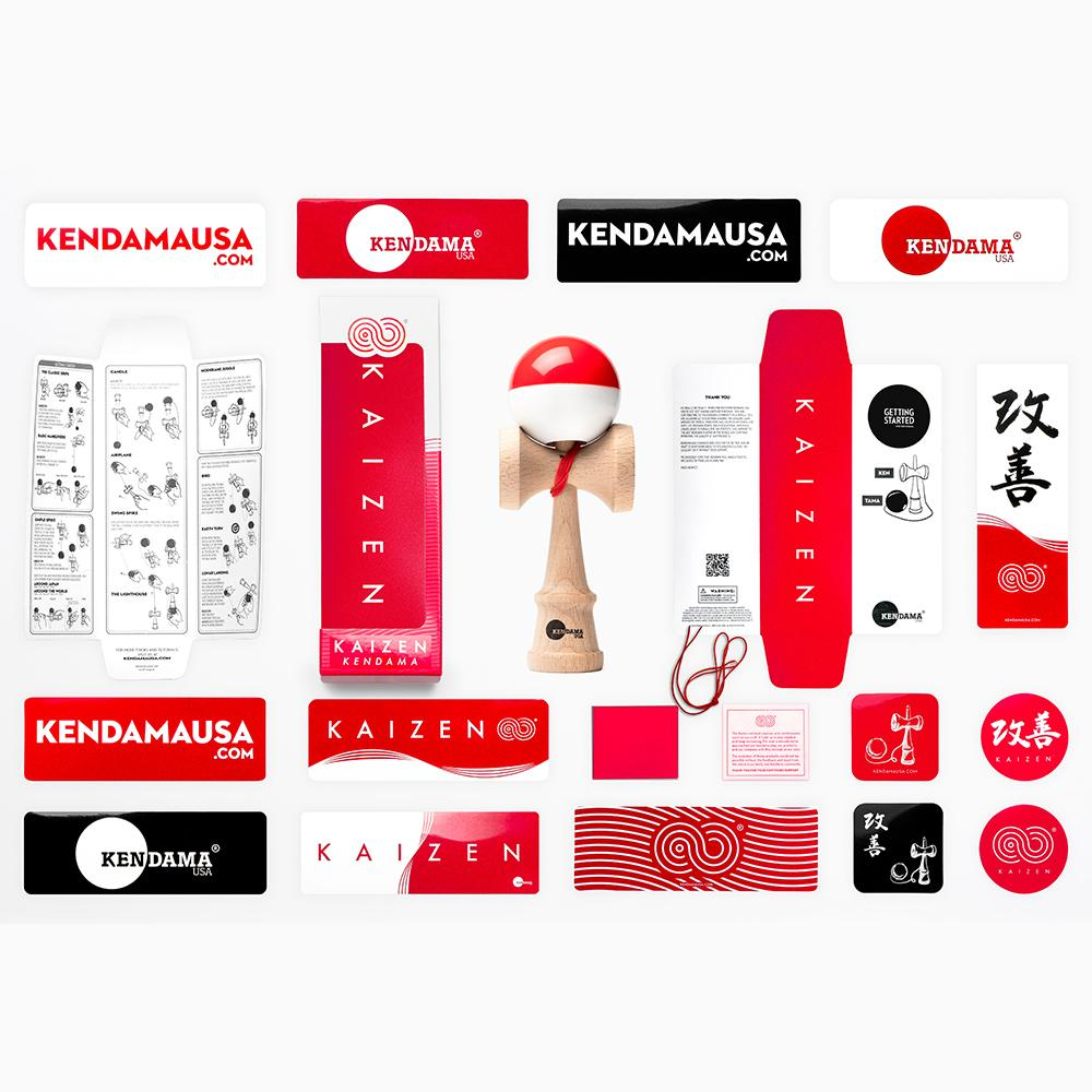 KENDAMA USA - Kaizen SHIFT - Half Split - Red and White