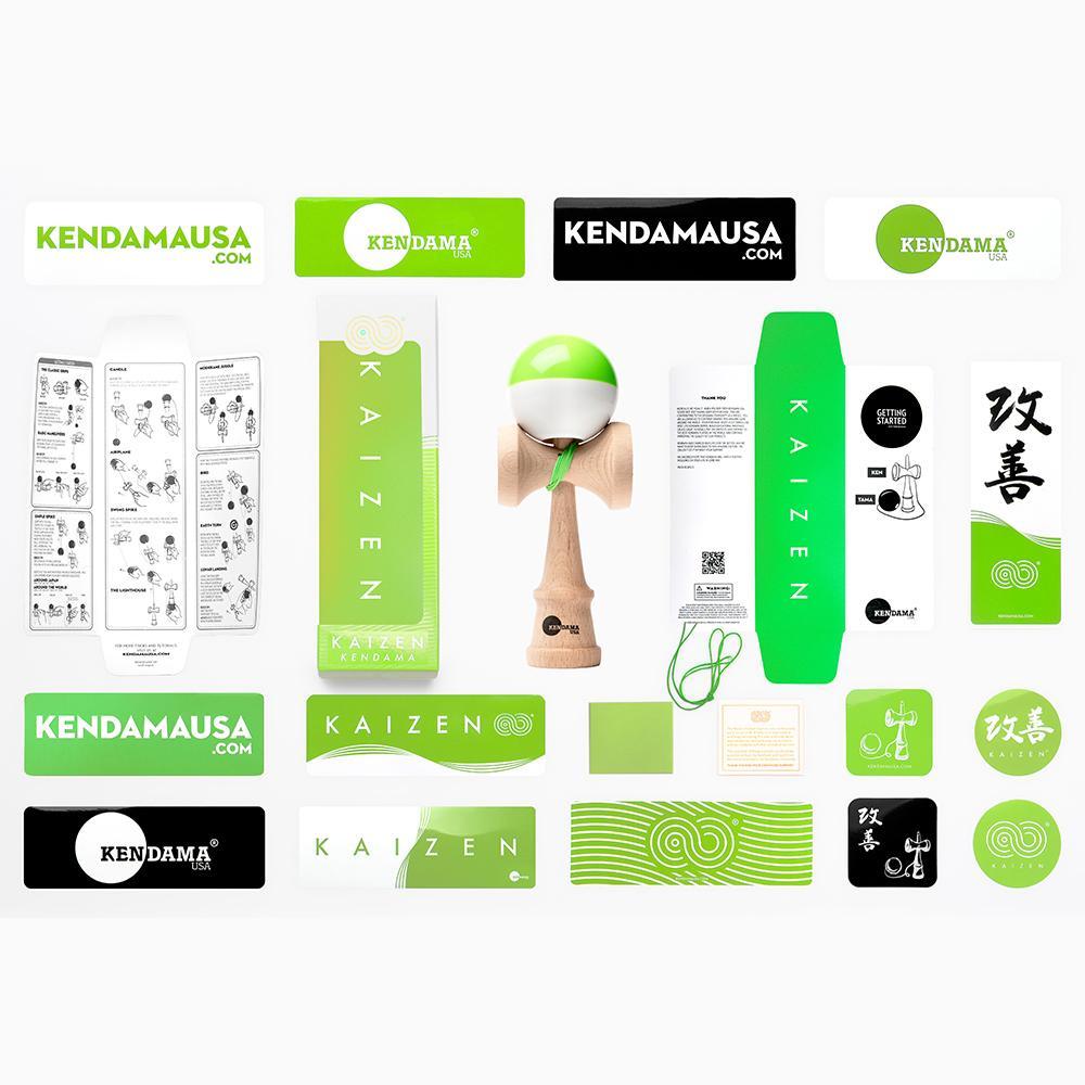 KENDAMA USA - Kaizen SHIFT - Half Split - Green and White