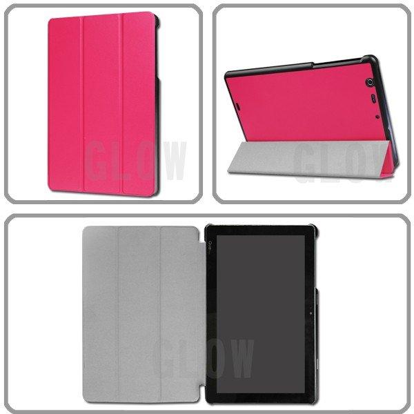 スタンド機能 軽量 薄型設計 全13色 Qua tab PZ キュアタブ au quatab LG LGT32 3点セット【保護フィルム&タッチペン付き】 3つ折りケース エーユー ゆうパケット送料無料