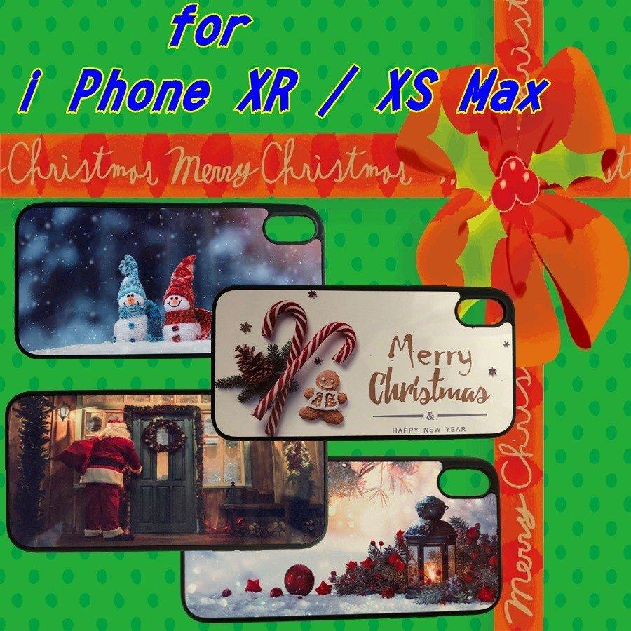 iPhone X/XS ,i Phone XR ,i PhoneXs max クリスマス オリジナルケース 強化ガラス&タッチペン付き ゆうパケット送料無料