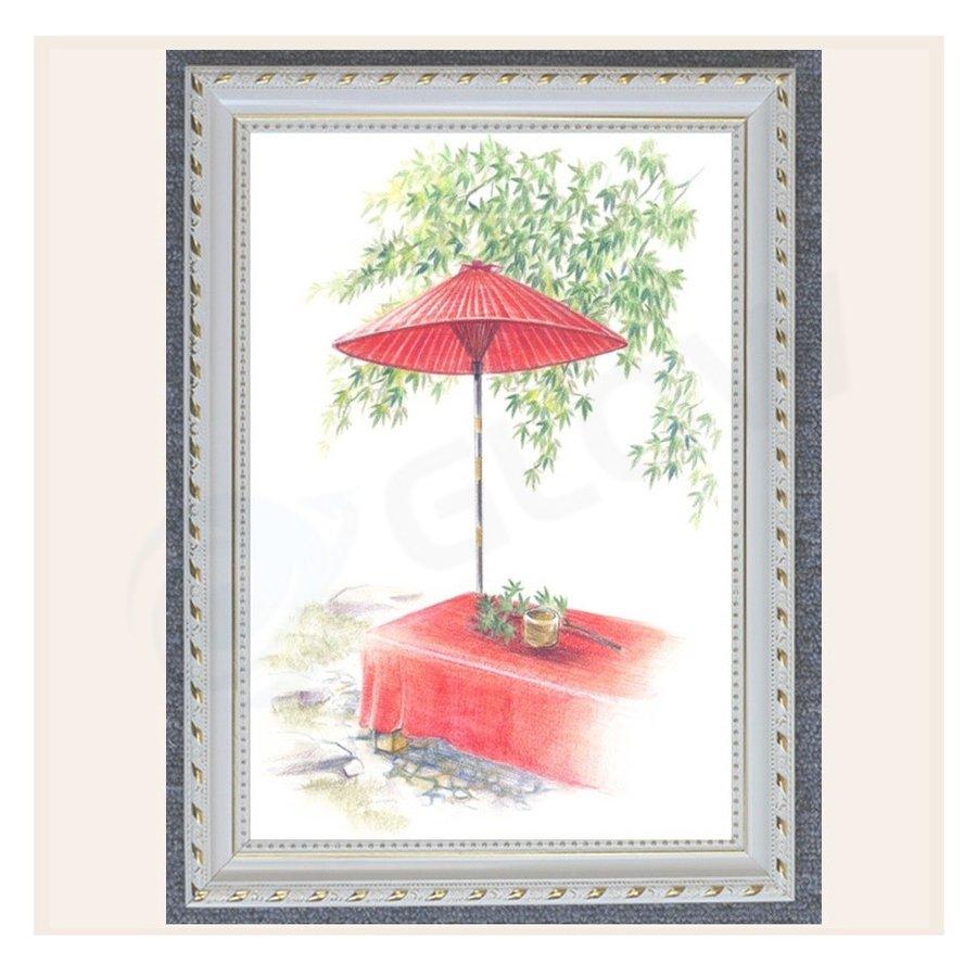 アートパネル 一休み インテリア 絵画 壁掛け 絵 和風 額入り 和傘 送料無料