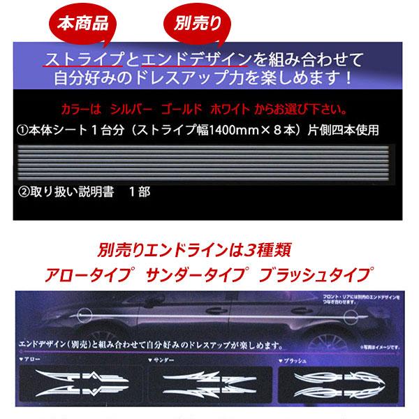 デコラインデカール 車用 汎用タイプ ストライプ シルバー D-100 (エンドライン無し)